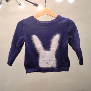 ❤️3/$30 Old Navy Navy Fuzzy Bunny Sweater 18-24